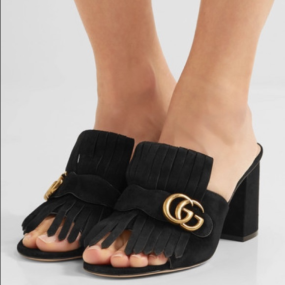 Gucci Shoes   Gucci Suede Midheel Slide